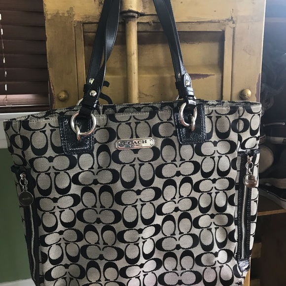 Coach Handbags - Used black canvas Coach tote purse